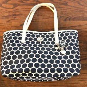 Michael Kors Navy white polka dot tote purse bag